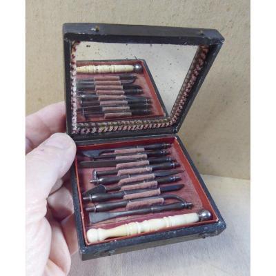 Étui De Dentisterie Complet, Vers 1820, Belle Qualité, 10 Instruments