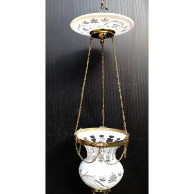 2nd French Empire Lighting, Crystal Overlay, Rare: In Good Condition