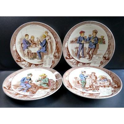 Gastronomie: 8 Assiettes Au Menu, Sarreguemines Polychromes, Vers 1880