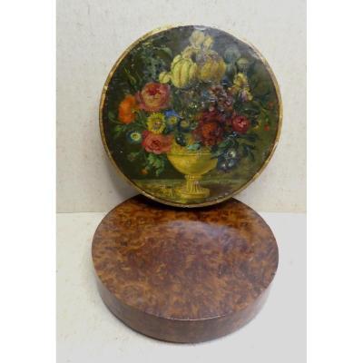 Turned Thuya Box, Circa 1900, Painted Of  Flowered Still Life