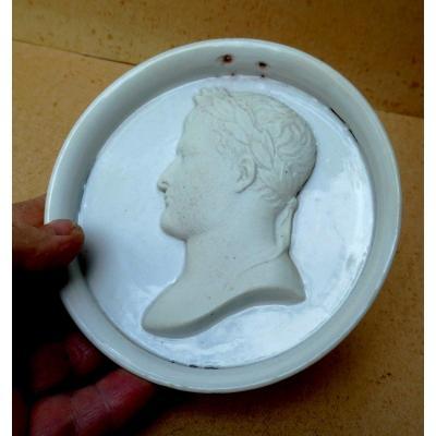 Grand Médaillon Profil De Napoléon 1er, Porcelaine De Paris, époque Empire