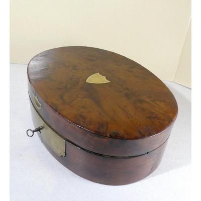 Oval Box From The 1st Empire Yew Wood, Rare ....