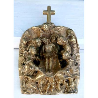 Foisonnante Entombment, Work Of An Inspired Sculptor, Bronze, High Relief