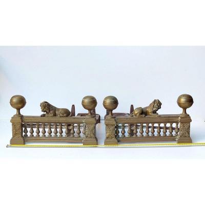 Grands Chenets Bronze Aux Lions, Fin 18e Siècle, état De Découverte.