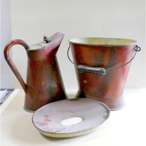 Cruises 19th Century, Luxury, Bucket And Pitcher Of Ease, Rosewood Painted Tin