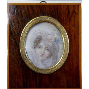 Portrait De La Princesse Russe Catherine Bagration, Attribué à Jb Isabey