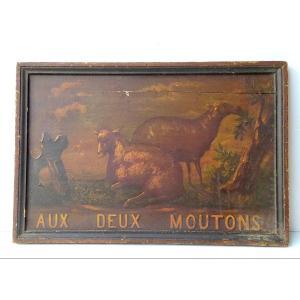 aux deux moutons, Enseigne d'auberge XIXe, peinture naïve sur bois