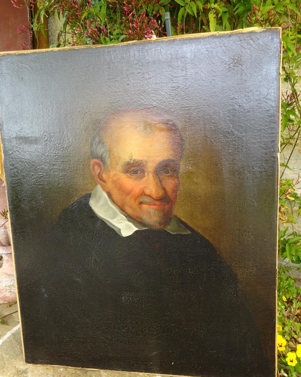 Portrait De Saint Vincent De Paul Huile sur toile XIXème
