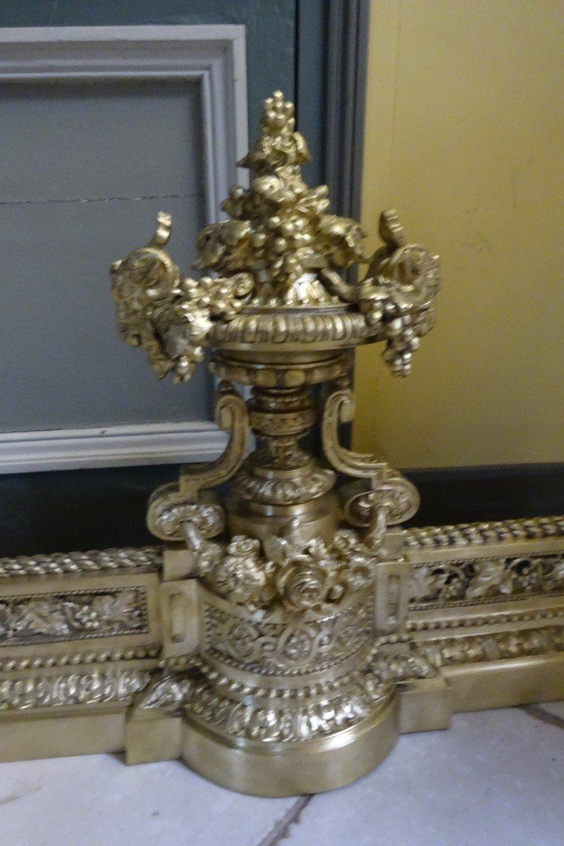 Importante Galerie De Cheminée en bronze ciselé d'époque Napoléon III-photo-2