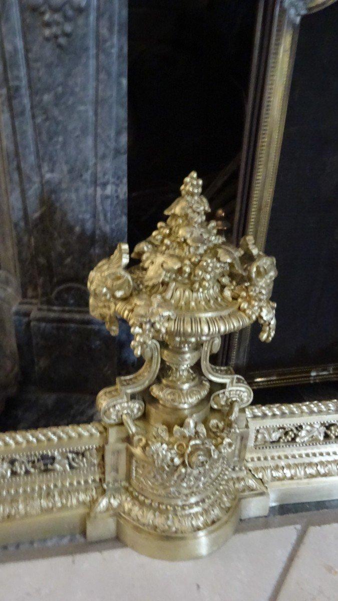 Importante Galerie De Cheminée en bronze ciselé d'époque Napoléon III-photo-4