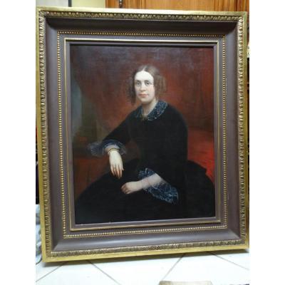 Grand Portrait De Femme Milieu XIXème Par Joachim Sotta