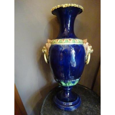 Large Vase Enamelled Faience Late Nineteenth