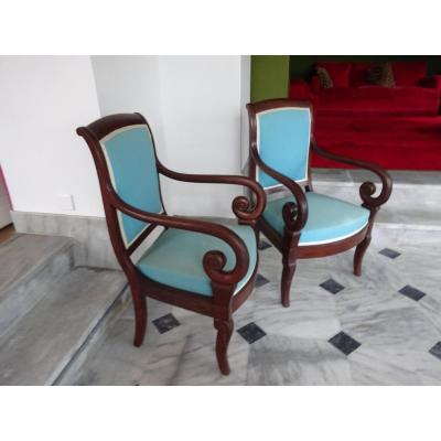 Pair Of Armchairs In Mahogany Restoration Period
