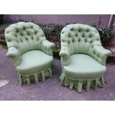 Pair Of Grand Armchairs Napoléon III Capitains