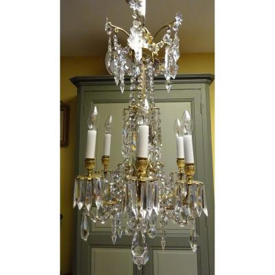Chandelier Napoleon III Gilt Bronze And Crystal