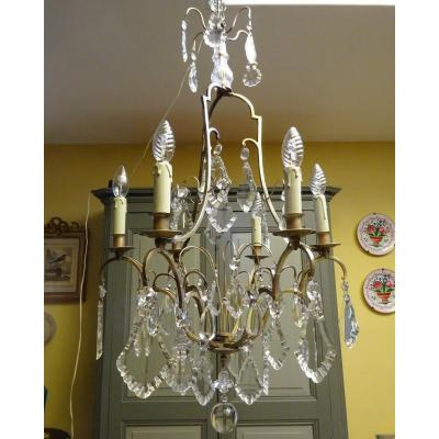 Cage Chandelier In Bronze And Crystal Eighteenth Style