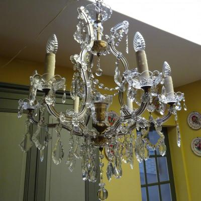 Bohemian Crystal Chandelier With Six Arms Of Light