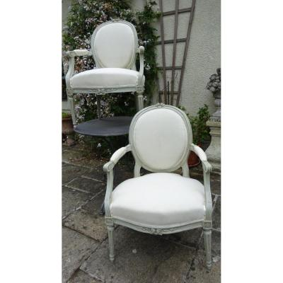 Pair Of Louis XVI Cabriolet Armchairs In Lacquered Wood
