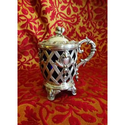 Mustard Pot In Sterling Silver, Napoleon III Period