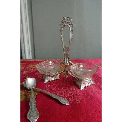 Small Double Saleron In Silver And Crystal Napoleon III Period