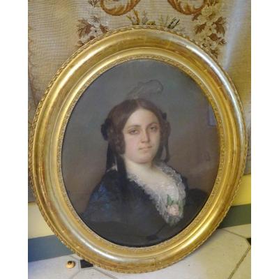 Portrait De Femme, Pastel d'époque Napoléon III