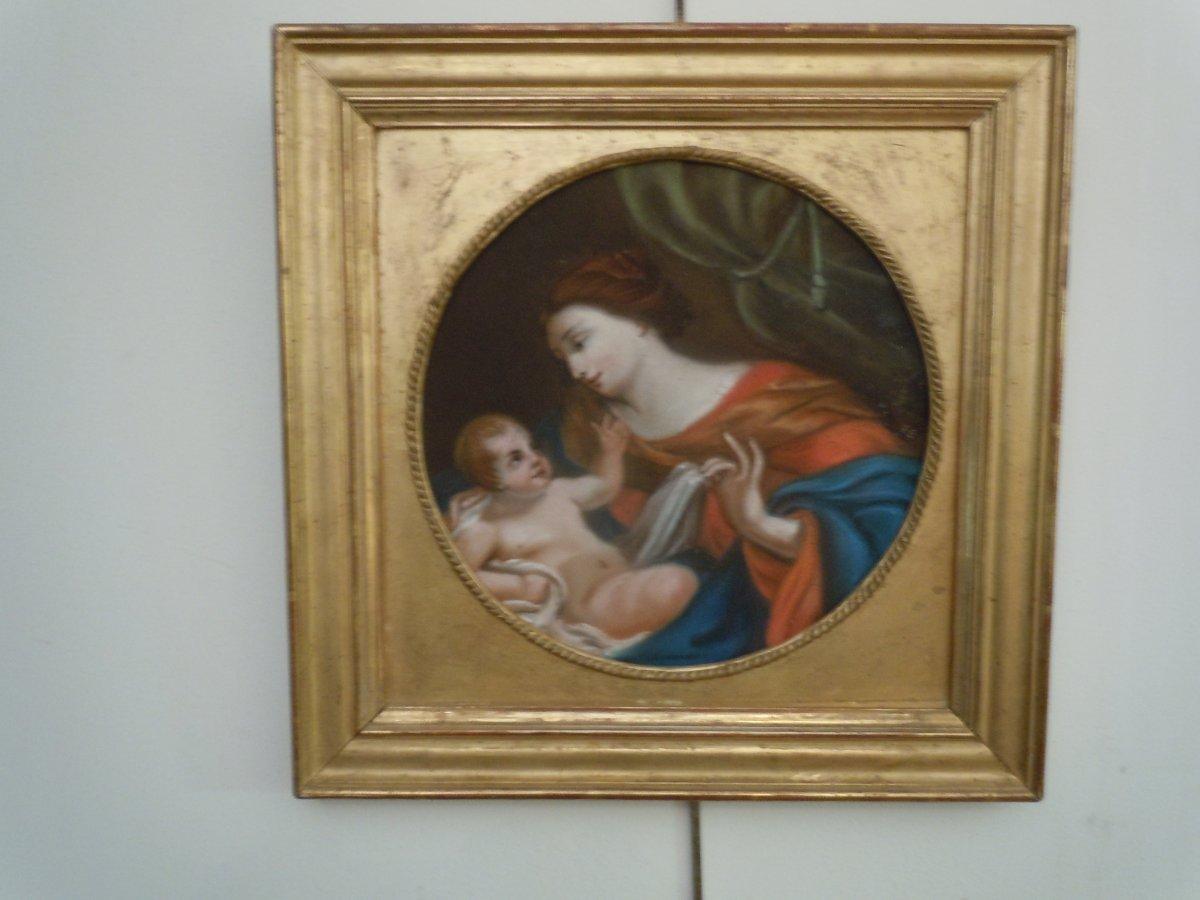Pastel Vierge A L Enfant 18eme Siecle-photo-2