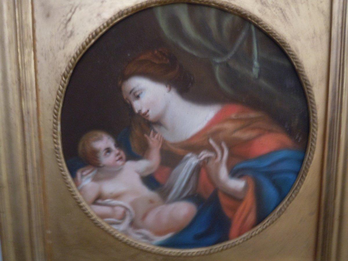 Pastel Vierge A L Enfant 18eme Siecle-photo-1