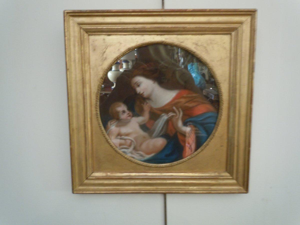 Pastel Vierge A L Enfant 18eme Siecle