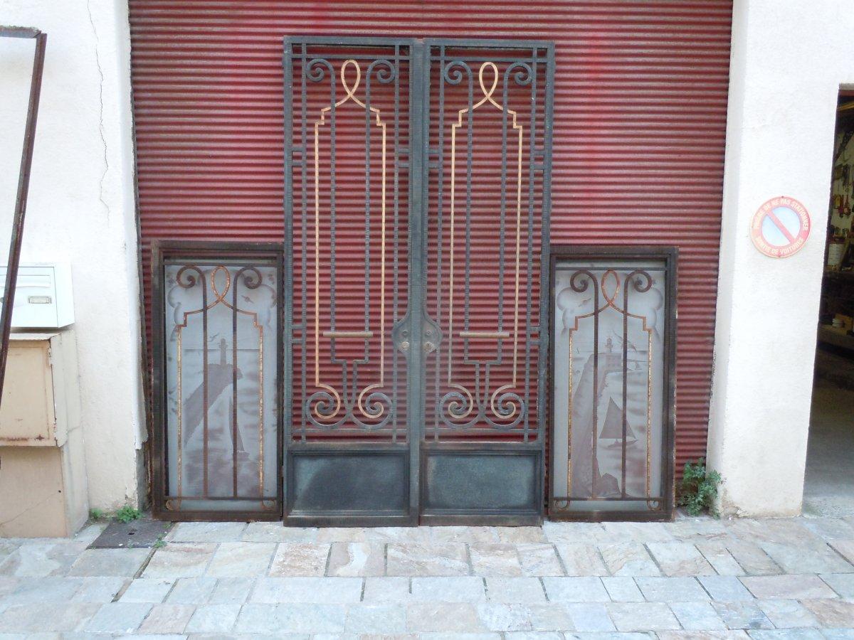 Art Deco Wrought Iron Entrance Doors