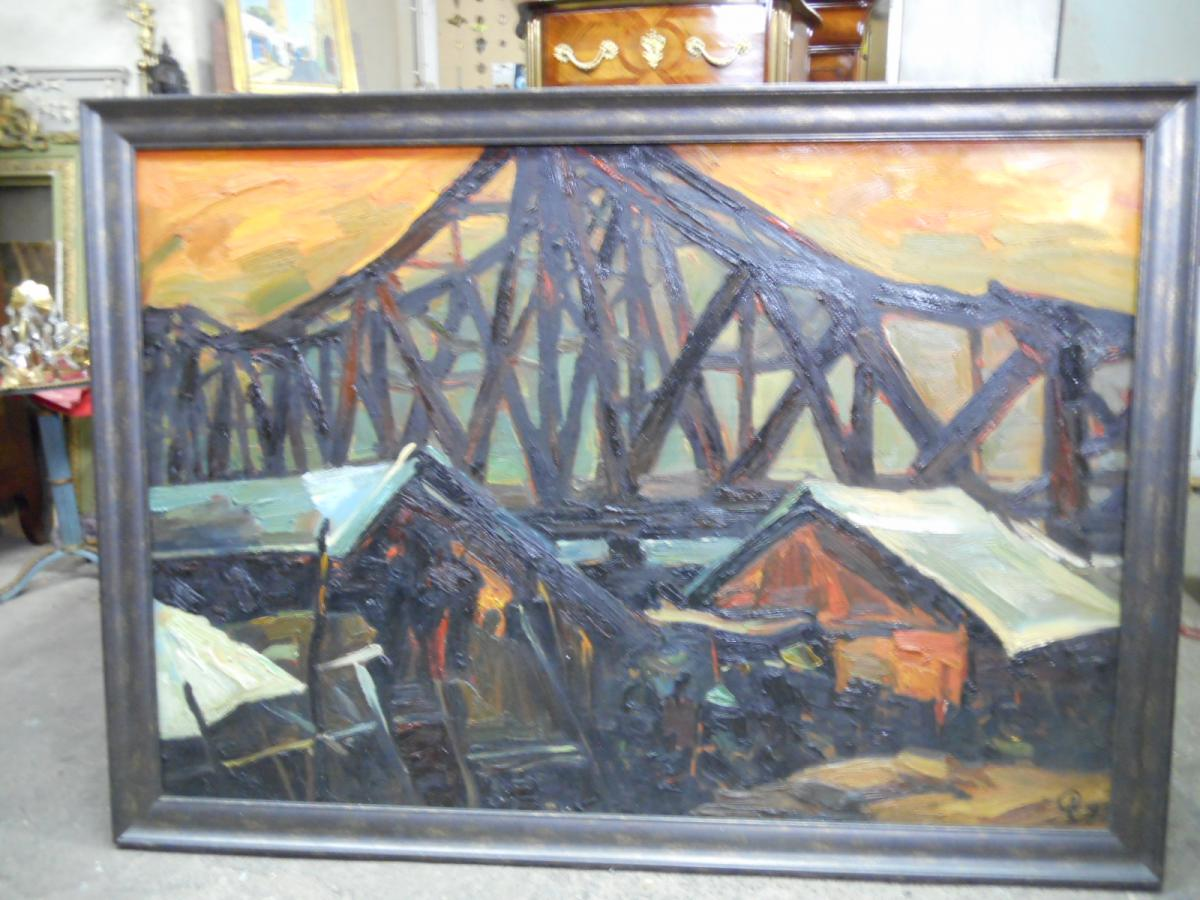 Large Oil On Canvas Signed Pham Luan