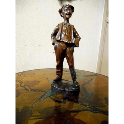 "Sculpture En Bronze ""gavroche""signee Georges Omerth"