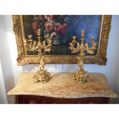 Paire De Chandeliers En Bronze Dore 19eme