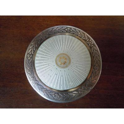Powder Box In Sterling Silver Emaille