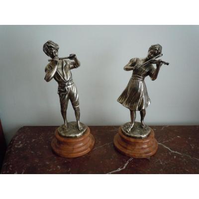 Paire De Musiciens En Bronze Argente
