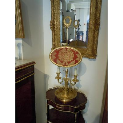 Lampe A Ecran En Bronze Dore