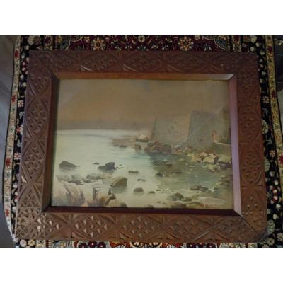 Orientalist Watercolor By Antoine Barbier