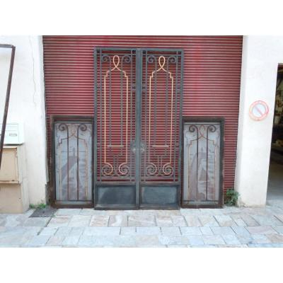Art Deco Wrought Iron Entrance Doors