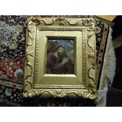 Oil On Copper 17th Christ Carrying The Cross