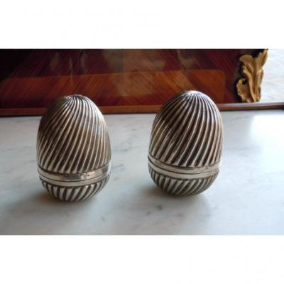 Pair Of Eggs In Sterling Silver