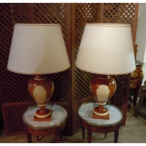 Paire De Lampes En Ceramique Par Jean Roger