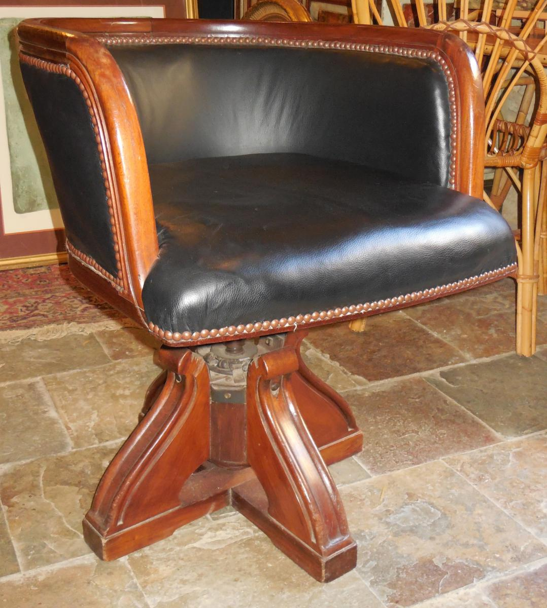 Office Chair Solid Mahogany And Leather, Early Twentieth.