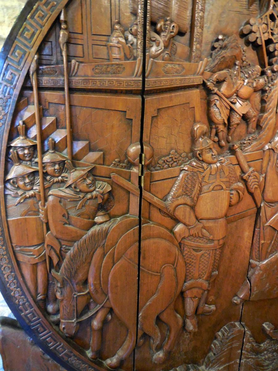 Paravent Chinois En Bois Sculpté, Fin XIXème Debut XXème (1,89m X 1,68cm)-photo-3