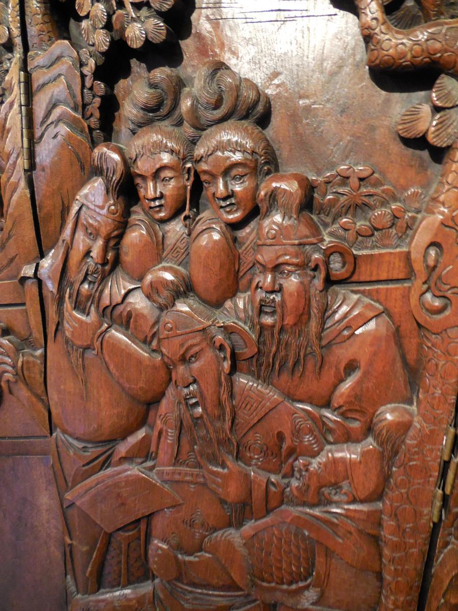 Paravent Chinois En Bois Sculpté, Fin XIXème Debut XXème (1,89m X 1,68cm)-photo-1