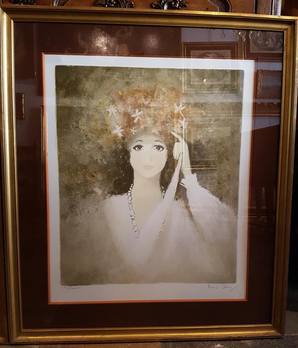 Paire De Lithographies Bernard Charoy, Portrait Femme.(71cmx80cm)-photo-1
