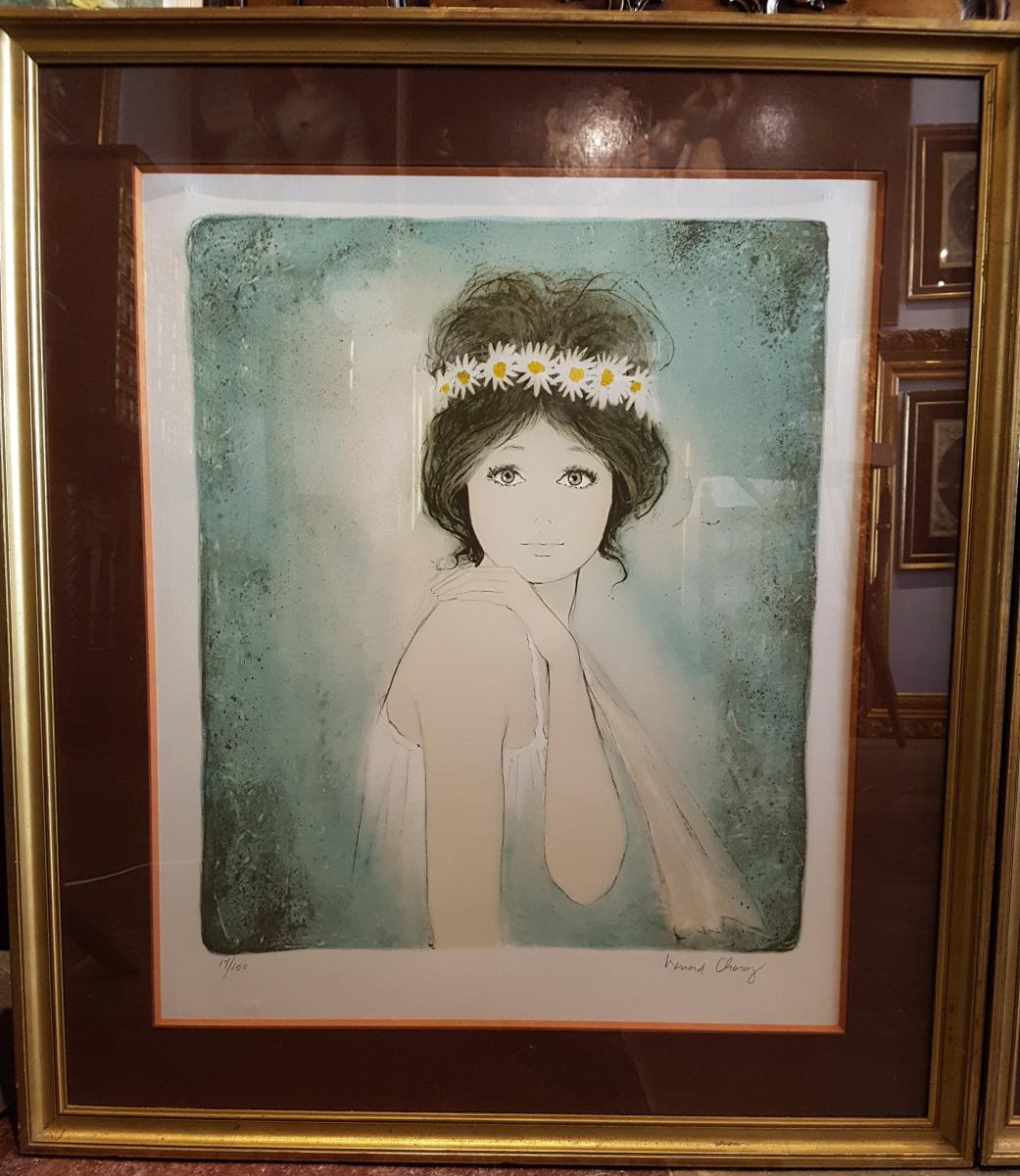 Paire De Lithographies Bernard Charoy, Portrait Femme.(71cmx80cm)-photo-2