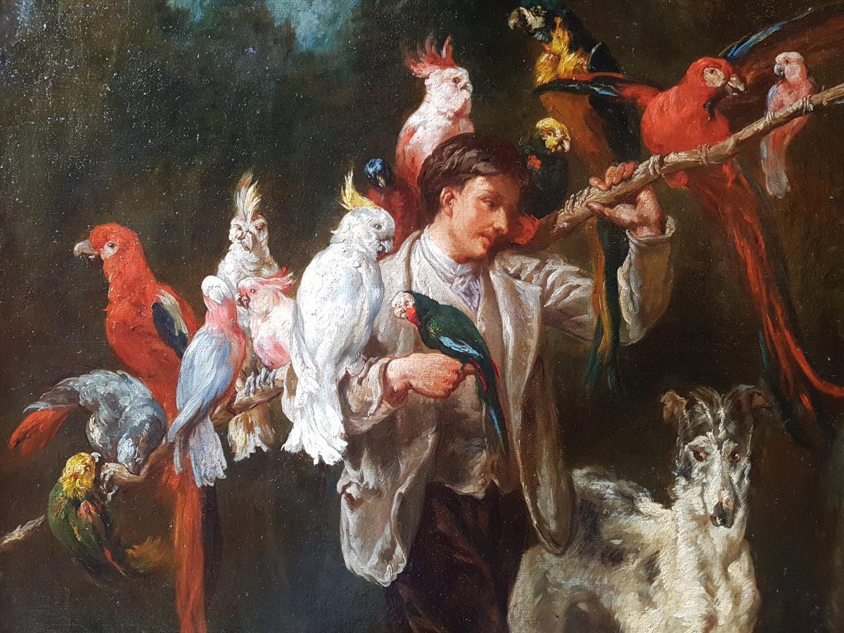 Tableau Homme Aux Perroquets, École Française XIXème. (97cm X 73cm)
