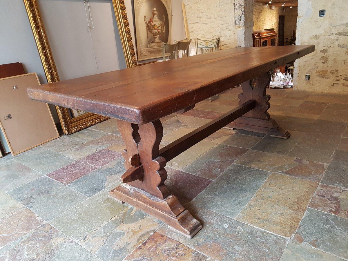 Table De Monastère En Chêne, Fin XIXème. (220cm X 80cm)-photo-2
