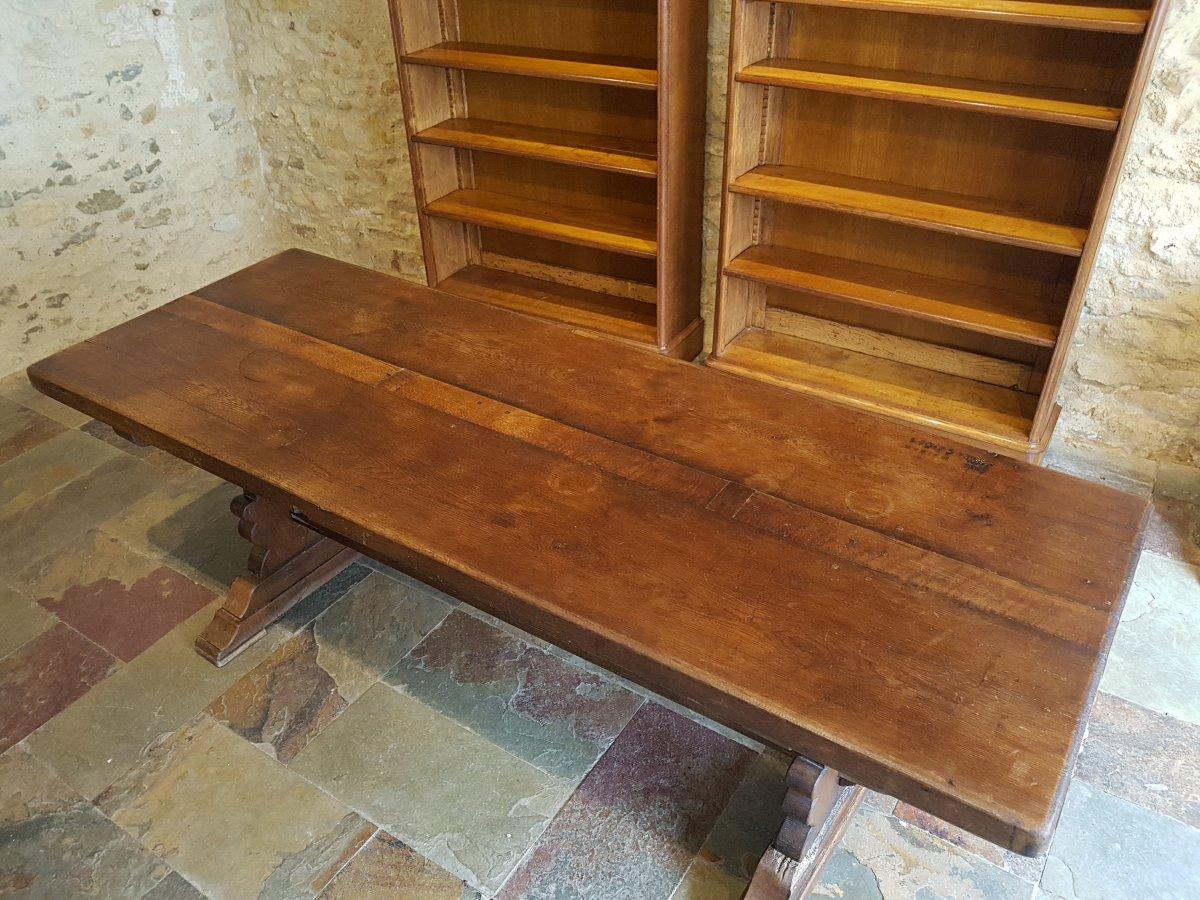 Table De Monastère En Chêne, Fin XIXème. (220cm X 80cm)-photo-4
