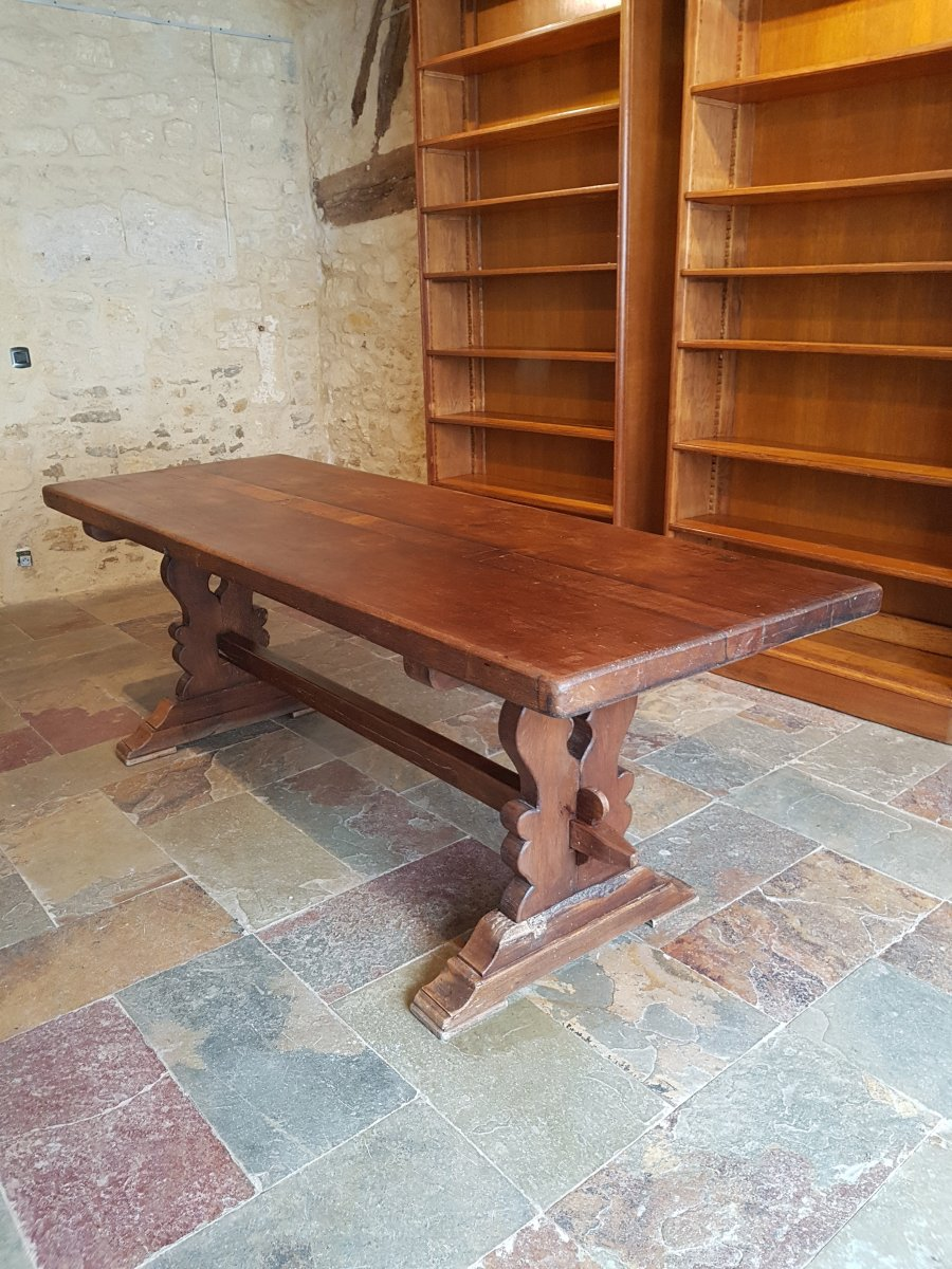 Table De Monastère En Chêne, Fin XIXème. (220cm X 80cm)-photo-1
