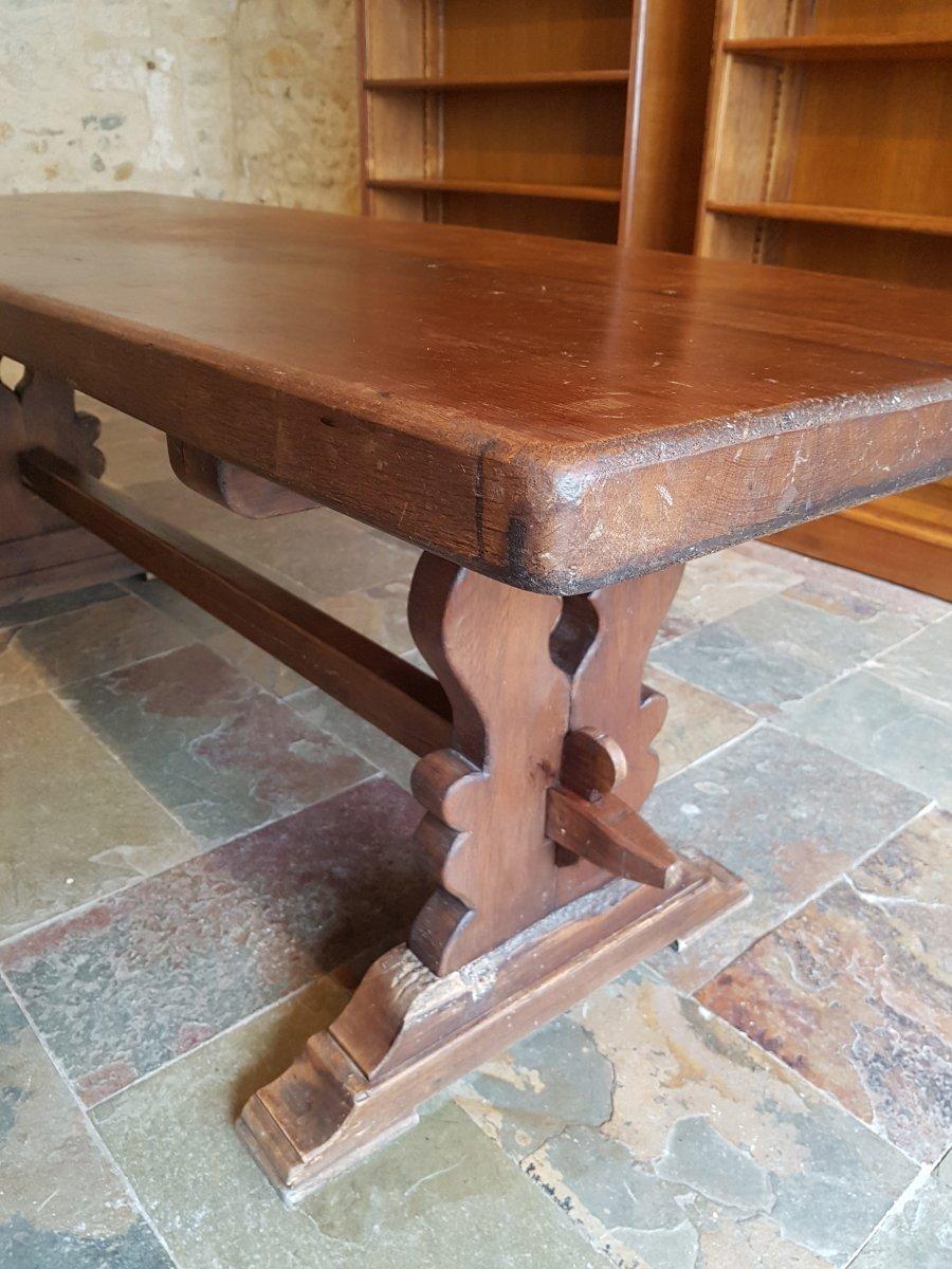Table De Monastère En Chêne, Fin XIXème. (220cm X 80cm)-photo-5